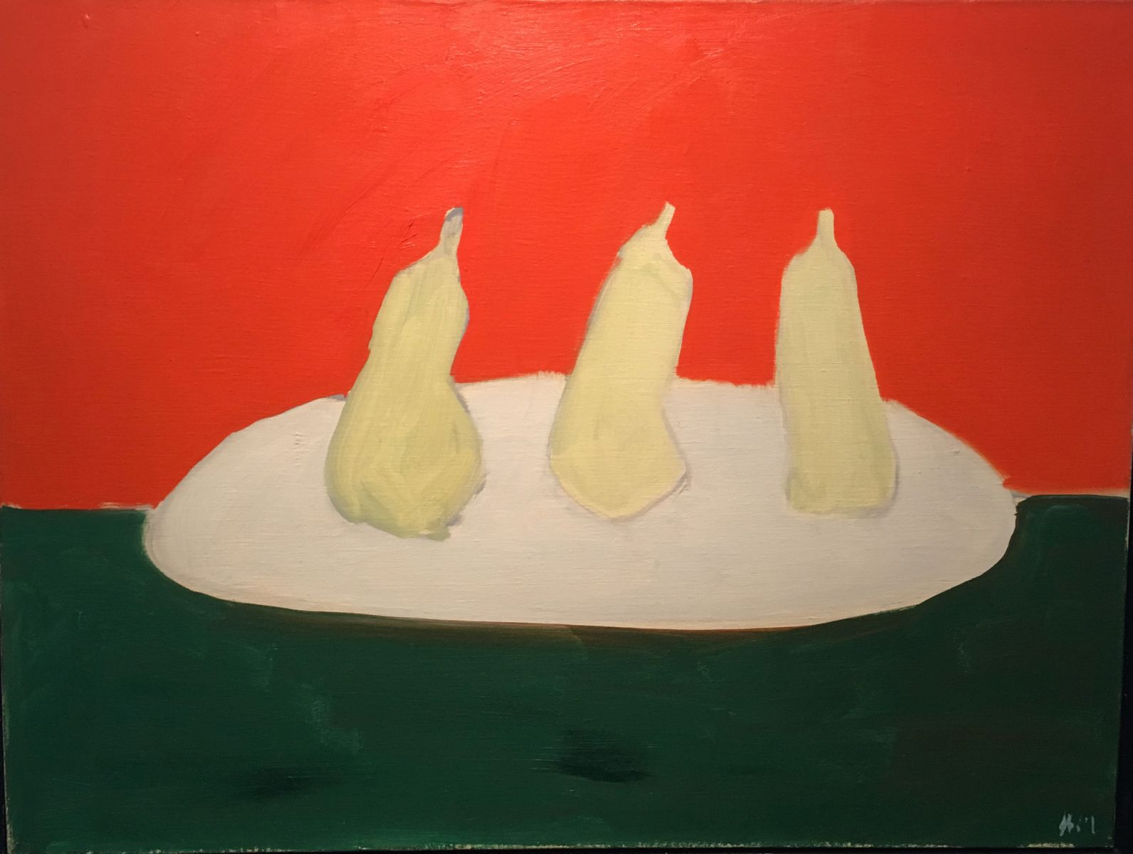 Nicolas De Staël - Nature morte, poires, fond vert et orange